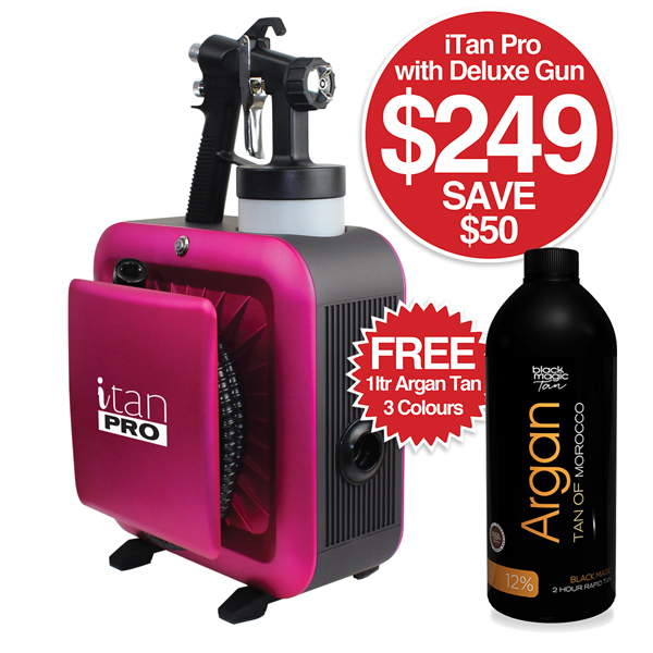 BLACK MAGIC i Tan Pro With Deluxe Gun and FREE Argan Tan 1 Litre