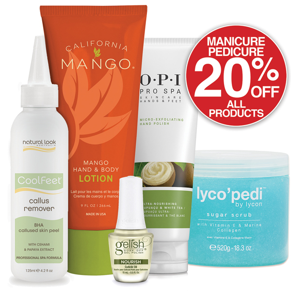 20% OFF all Manicure & Pedicure Products