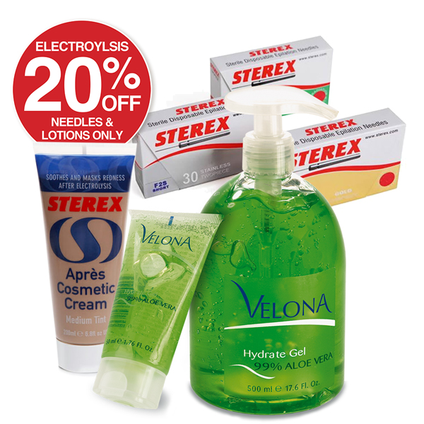 20% OFF ELECTROLYSIS NEEDLES & LOTIONS