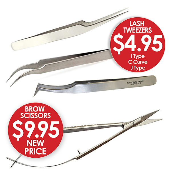 Lash and Brow tweezers and scissors